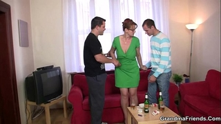 Threesome party with old honey