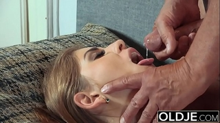 Pretty juvenile wife mouthful of cum and anal sex with grandad jock