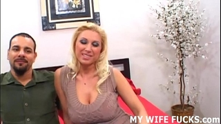 Watch your horny white wife riding a large pornstar knob