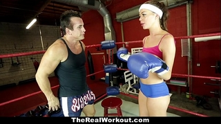 Therealworkout - sexually excited brunette hair drilled in the gym