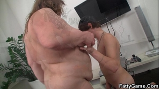 Big abdomen bbw sucks and rides his juvenile pecker