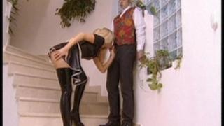 Latex maid receives laid
