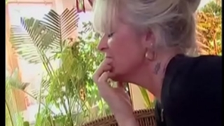 Busty granny takes youthful jock