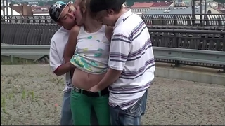 Alexis crystal facial cum at a public teach station in three-some with two legal age teenager chap