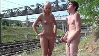 Young golden-haired legal age teenager wife is pounded by a public railway by two fellows with large jocks