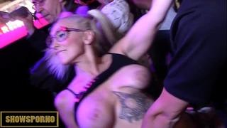 Blonde squiring slutty wife fucking large knob