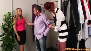 Redhead cfnm playgirl engulfing customers shlong