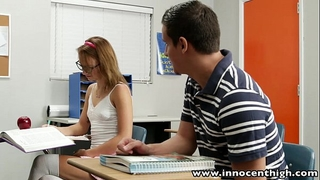 Innocenthigh cute legal age teenager rides penis in the classroom