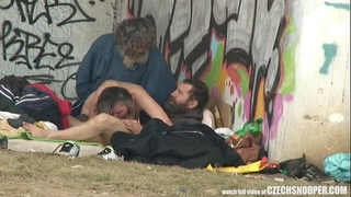 Pure street life homeless 3some having sex on public