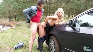 Myfirstpublic youthful nathaly cherie stops the car and bonks her chap