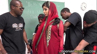 Nadia ali learns to handle a bunch of dark weenies
