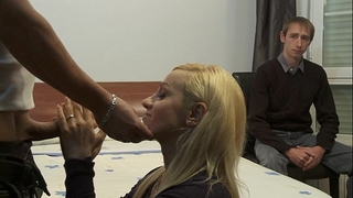 Cuckold watching how her whore horny white wife is being screwed