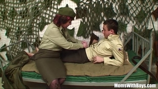 Pierced twat senior army officer reprimands a soldier
