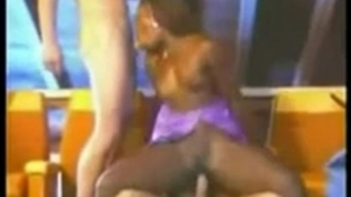Black stripper and 2 white dudes make non-professional three-some movie scene