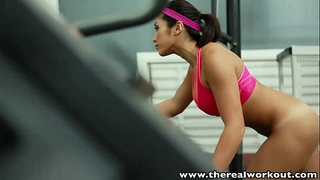 Therealworkout breasty oriental gym chick taut love tunnel screwed
