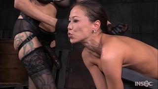 Slender oriental bitch drilled hard by lezdom thong on