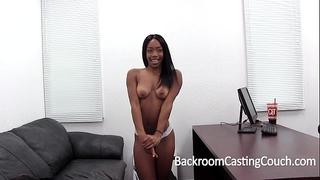 Hardbody dark hotwife fucked into ass on casting ottoman