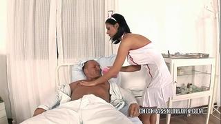 Slutty nurse dark angelika bonks in the hospital daybed