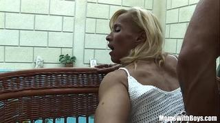 Blonde older melissa q engulfing and fucking youthful ramrod