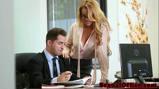 Busty office secretary gangbanged over the table