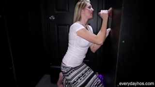 Dirty golden-haired whore 1st time engulfing shlong at the magnificence gap
