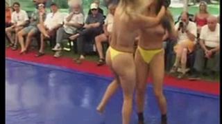 Topless hotties fight