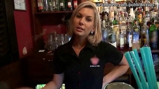 Hot barmaid receives laid in public