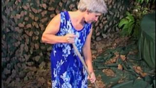 Skinny grey haired granny old slit drilled
