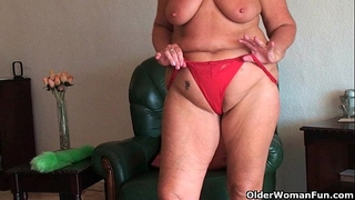 Chubby granny with saggy large mambos and corpulent wazoo widens love tunnel
