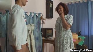 Sewing oldie pleases his excited ramrod