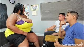 Busty dark bbw teacher bonks two hung chap students
