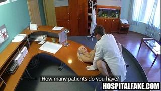Blonde patient getting screwed hard on a desks on doctors receptionist desk 720 4