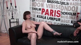 Pretty dilettante brunette hair with large scones hard team-fucked for her porn casting sofa