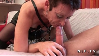 French aged in nylons unfathomable mouth fucking and hard group-fucked