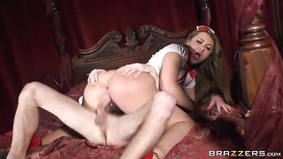 Bootylicious nurse wraps her lips and pussy around fat cock
