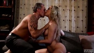 Cherie Deville spreads her legs wide for a big juicy cock