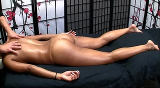 Sexy oriental receives erotic massage and cheerful ending