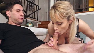Blonde-haired mom rewards Brad with a nice blowjob