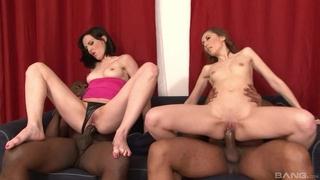 Pair of nasty brunettes pleasuring two horny black stallions