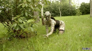 Nasty catwoman in mask gets gang banged in the woods