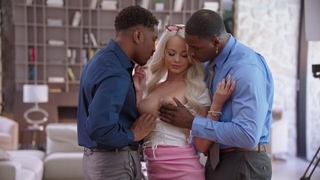 Glamorous blonde babe gets fucked hard by two horny black studs