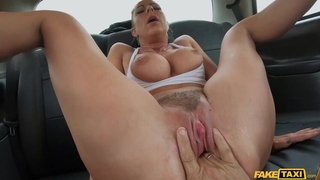 German MILF with big boobs gets screwed by horny taxi driver