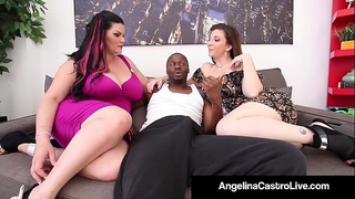 Cuban queen angelina castro & sara jay blow a large dark dong