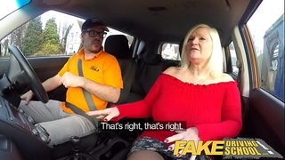 Fake driving school breasty aged milf sucks and bonks favourable instructor