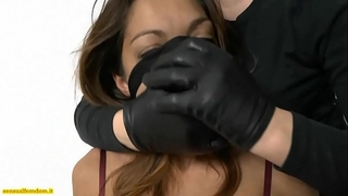 Jessica in slavery is handsmothered and strangled by a woman in stocking mask