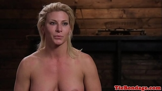 Blonde sadomasochism sub whipped untill this babe squirts