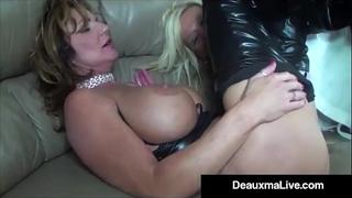 Role play by hawt cat woman milf deauxma ends in three way fuck!