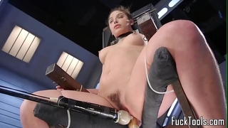 Babe restrained to chair for vagina toying