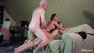 Smutty professor copulates naughty students old juvenile three-some