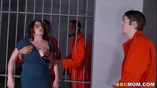 Busty mama maggie green takes 2 bbcs in a jail